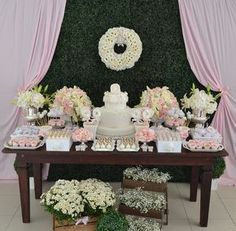Can you believe this is a baby shower? Garden Birthday, Mom Birthday, Birthday Parties, Baby Shower Deco, Baby Shower Themes, Bridal Shower, Shower Ideas, Sweet Buffet, Baby Dedication