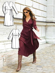 Ciao Bella: 9 New Women's Sewing Patterns - Modelos de Roupas - Fall Outfit New Dress Pattern, Dress Sewing Patterns, Pattern Sewing, Wrap Pattern, Wrap Dress Patterns, Clothes Patterns, Trendy Dresses, Elegant Dresses, Nice Dresses