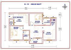 2 BHK floor plans of House Layout Plans, House Layouts, House Plans, South Facing House, Civil Engineering, My House, Floor Plans, Flooring, How To Plan