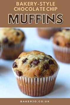 Choclate Chip Muffins Recipe, Vanilla Muffin Recipe, Homemade Chocolate Chip Muffins, Chocolate Chip Cupcakes, Simple Muffin Recipe, Homemade Muffins, Chocolate Chips, Chocolate Recipes, Easy Baking Recipes