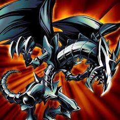 dragon metalico negro de ojos rojos