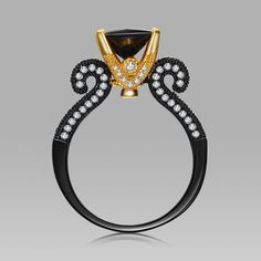 Black Princess Cut Cubic Zirconia Gold Prong Vintage Black Women's Engagement Ring #gothic #gothicwedding #goth #gothicweddingrings Gothic wedding ring