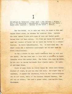 Cormac McCarthy. First page of an early draft of Blood Meridian circa 1975. Very different from the published version.