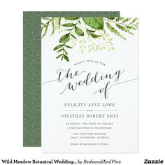 Summer Wedding Ideas Wild Meadow Botanical Wedding Invitation - Shop Wild Meadow Botanical Wedding Invitation created by RedwoodAndVine. Personalize it with photos Chalkboard Wedding Invitations, Botanical Wedding Invitations, Rehearsal Dinner Invitations, Watercolor Wedding Invitations, Wedding Invitation Templates, Summer Wedding Invitations, Invitation Envelopes, Invitation Wording, Invitation Suite