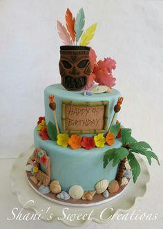 Luau Cake by Shani's Sweet Creations Hawaii Birthday Cake, Hawaii Cake, Hawaiian Birthday, Themed Birthday Cakes, Themed Cakes, Hawaiian Luau, 30th Birthday, Luau Cakes, Beach Cakes