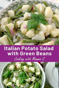 You'll love this Italian Potato Salad with Green Beans! It's made with oil and vinegar and is vegan. Don't miss this family recipe! Healthy Side Dishes, Side Dishes Easy, Vegetable Side Dishes, Side Dish Recipes, Vegetable Recipes, Vegetarian Recipes, Cooking Recipes, Healthy Recipes, Cooking Vegetables