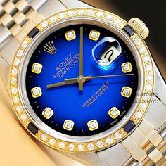 34366e93625 ROLEX MENS DATEJUST BLUE VIGNETTE DIAMOND SAPPHIRE 18K YELLOW GOLD  rolex   menswatches  watchesformen · Rolex De OuroRelógios ...