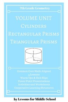 This unit provides many hands on activities and real world problems for students to really understand the application of volume to different types of prisms.  Students will be instructed through 5 detailed lessons with accompanying activities and formative assessments.