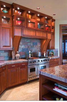 Love the high lit cabinets, and the tile backsplash! Kitchen lighting and design