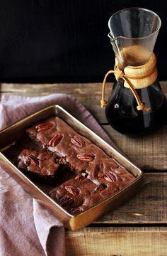 brownie-cafe-et-noix-de-pecan, à adapter sans beurre