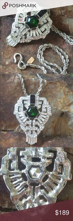 "NWOT Kenneth Jay Lane Art Deco Grand Necklace Genuine KJL designer emerald and clear art deco pendant.  This is exquisitely set in white metal and and is a collectible.  It has never been out of the box.  The chain length is approximately 30"".  The ring sells for 175 if you can find one on a vintage site.  Pendant  is approx 2""x3"". A GREAT CHRISTMAS GIFT  Jewelry Necklaces"