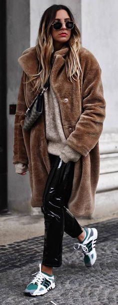 how to style leather pants : sweater + coat + bag + sneakers