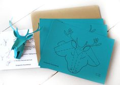 Set of 3 faux deer head, faux taxidermy , greeting card, turquoise