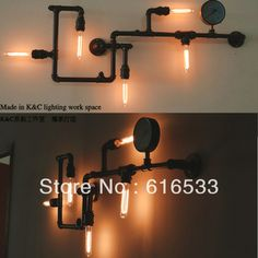 Loft water pipe wall lamp vintage bedroom lights personality black with gold edison bulb e27