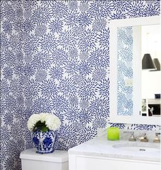 1000 images about love wallpaper on pinterest for Navy bathroom wallpaper