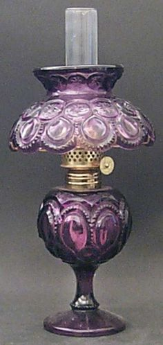 Mini Oil Lamp With Globe And Chimney in the Moon & Stars-Amethyst pattern by Wright Glass, L G