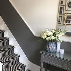 Dado rail hallway and stairs - grey below and white above Victorian Terrace Hallway, Edwardian Hallway, Victorian House, Hallway Inspiration, Interior Inspiration, Hallway Flooring, Dado Rail Hallway, Hallway Colours, Flur Design