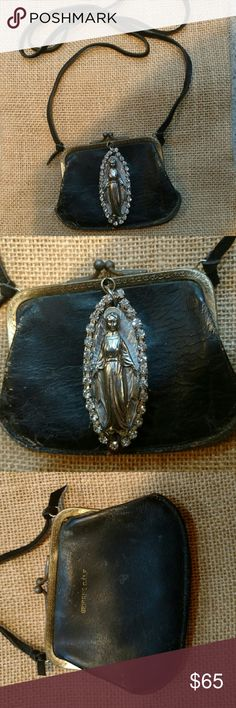 Lovely coin purse necklace One of a Kind coin sweetheart purse with the Virgin Mary set in rhinestones one of a kind I repurpose all my jewelry I make by hand with vintage find's. Jewelry Necklaces
