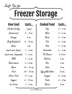 Make sure you throw away any raw or cooked food that has been stored in the freezer too long. Free to download and print