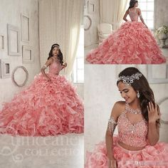 Organza Sparkly Crystal Two Piecescoral New Quinceanera Dresses 2016 Custom Make…