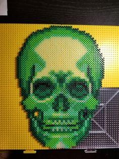 Glow in the Dark Green Yellow Skull Perler Bead Pattern 3d Perler Bead, Pearler Beads, Fuse Beads, Fuse Bead Patterns, Perler Patterns, Beading Patterns, Chart Maker, Pixel Art Templates, Iron Beads