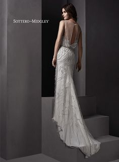 Glamorous blouson wedding dress with illusion neck and  keyhole back, Renata by Sottero and Midgley.