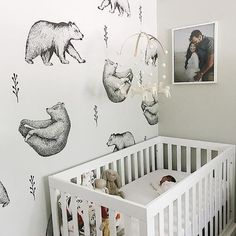 Statement feature wallpaper for - Where woodland meets modern, this bear wallpaper is making our nursery trend dreams come true. Nursery by: Baby Girl Nursery Themes, Bear Nursery, Baby Boy Rooms, Woodland Nursery, Baby Boy Nurseries, Nursery Room, Baby Girl Nursery Wallpaper, Baby Bedroom, Nursery Inspiration