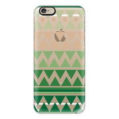 iPhone 6 Plus/6/5/5s/5c Case - Emerald Tribal Chevron - Crystal Clear... (54 AUD) ❤ liked on Polyvore