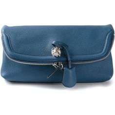 ALEXANDER MCQUEEN skull padlock clutch (2.425 BRL) ❤ liked on Polyvore featuring bags, handbags, clutches, alexander mcqueen clutches, foldover purse, skull handbag, blue purse and alexander mcqueen purse