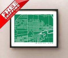 Moose Jaw Map Saskatchewan Poster Print
