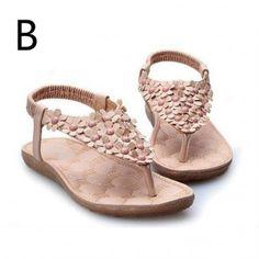 Adults Flowers Flat Thong Sandals