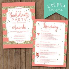 Bachelorette Party Invitation with Itinerary by LaLunaDesigns, $30.00