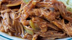 This is great shredded beef served on tortillas or over rice. Add sour cream, cheese, and fresh cilantro on the side.