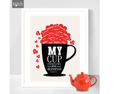 Personalized Tea cup Print  My Cup Overflows with by PetrasWonders