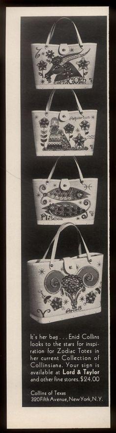 1969 Enid Collins Zodiac Aries etc 4 handbag purse photo vintage print ad | eBay