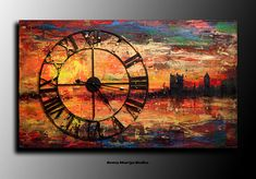 Each artworks are a unique and hand painted in the UK and comes Directly from my studio. The first of a series of 3d Clock. Artist: Anna Bulka Title: London Clock 3d1 Medium: Acrylic,mixed media, real clock, glitter... Colour: red, orange, yellow, gold, blue, black ... Ready