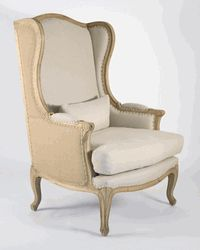 Burlap and Linen Wingback Chair - awesome; every fireplace needs two of these <3