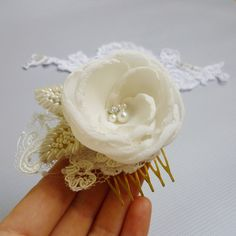 Bridal hair flower Bridal hair accessories hair by GingiBeads, $23.50