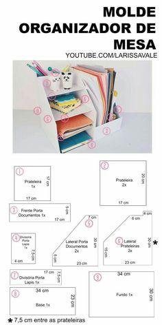 51 Super Ideas for desk organization diy cardboard craft rooms Desk Organization Diy, Diy Desk, Diy Storage, Diy Organizer, Craft Desk, Cardboard Organizer, Cardboard Crafts, Diy Karton, Ideias Diy