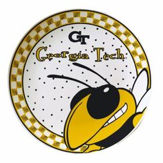 """Georgia Tech Gameday Ceramic Plate by The Memory Company. $16.99. size 11"""" diameter.. Hand Painted.. Team logo/mascot with team color.. NCAA Georgia Tech Gameday Ceramic Plate"""