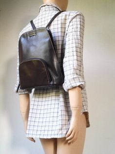 _ Minimalist Leather Backpack _ 90s Vintage Dark Brown Genuine Leather Front Pocket Backpack Bag By Laura Ashley ~ Women's / Men's Unisex Casual Carry-All Accessory