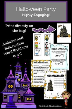 $ Looking for Halloween math activities that keep engagement and learning high in October? Students LOVE novelty. They will be pulling the number cards out of this adorable haunted house bag without even realizing how much they are learning. You will love it too! You print right on the bag!