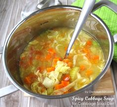 Spicy Cabbage #Soup for #Cabbage Soup Diet Recipe Soups with onions, garlic, hot pepper, chicken, coriander powder, mustard, tomatoes, carrots, chopped celery, lemon juice, shredded cabbage, salt, ground black pepper