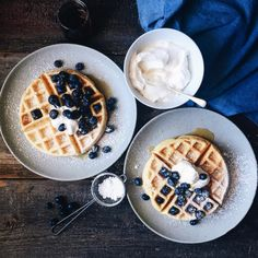 Blueberry Waffles with Maple Vanilla Whipped Cream