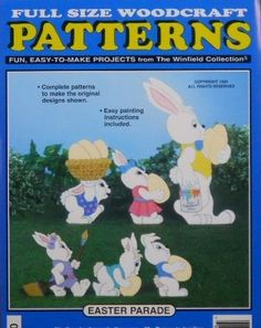 Easter Bunny Rabbit Parade Woodcraft Pattern by Winfield Collection. $10.95. Full Size Pattern - Easy to Make. Requires Pattern Transfer Paper (sold separately item #B001VA38PM) to transfer this pattern to your wood.. Easy Painting & Assembly Instructions. Great for the Do-It-Yourself Weekend Woodworker. Finished Sizes are 10 - 25 inches tall. Brand New - It is time once again to decorate the eggs and Mr. Bunny has all kinds of help. 6 Bunnies on an Easter Parad...