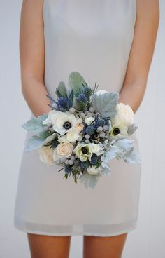Navy Blue Wedding Flower Package, Dusty Blue Wedding, Anemone Wedding Flowers