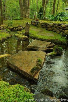 Moss And Stone Gardens: Woodland Garden, Garden, Moss Garden Hillside Landscaping, Landscaping Ideas, Woodland Garden, Shade Garden, Garden Pond, Garden Paths, Dream Garden, Water Features, Garden Inspiration