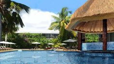 The South Pacific escape at the new Sheraton Samoa Aggie Grey's Hotel & Bungalows - Hotel Reservations, South Pacific, Hotels And Resorts, Swimming Pools, Pergola, Waterfall, Outdoor Structures, Bungalows, Places