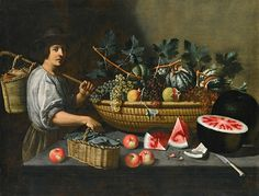 Unknown (Italian) Still Life with Fruit and Baskets 17th century