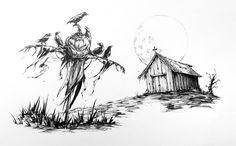 7/31 #inktober #inktober2017 #inktober17 #mikephillipsart #ink #haunted #scarecrow #crows #ravens #Halloween #halloween2017 